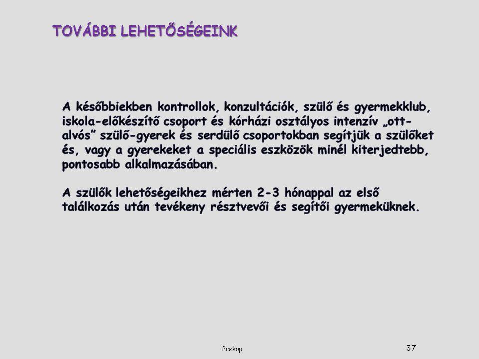 TOVÁBBI LEHETŐSÉGEINK 37 Prekop