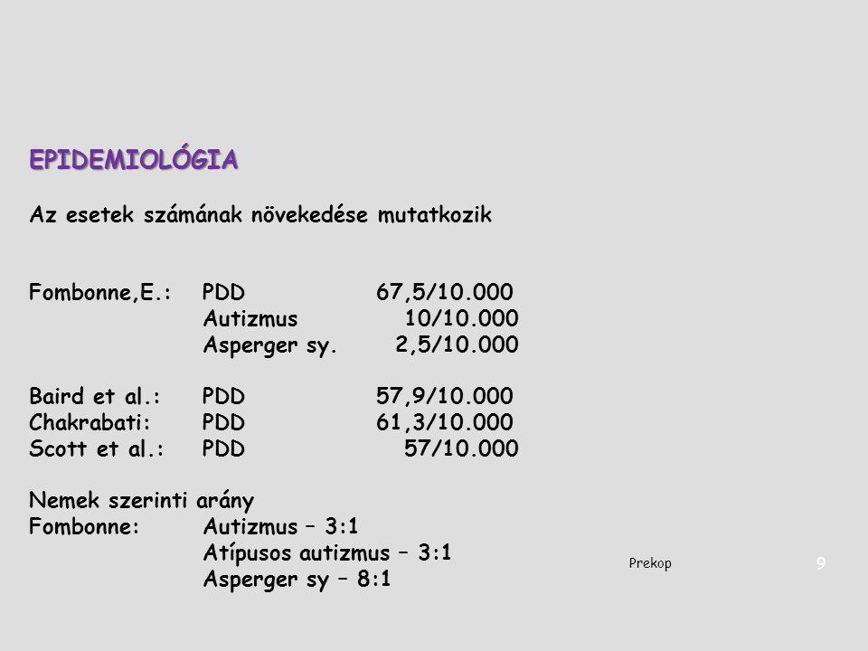EPIDEMIOLÓGIA Az esetek számának növekedése mutatkozik Fombonne,E.: PDD 67,5/10.000 Autizmus 10/10.000 Asperger sy. 2,5/10.000 Baird et al.:PDD57,9/10