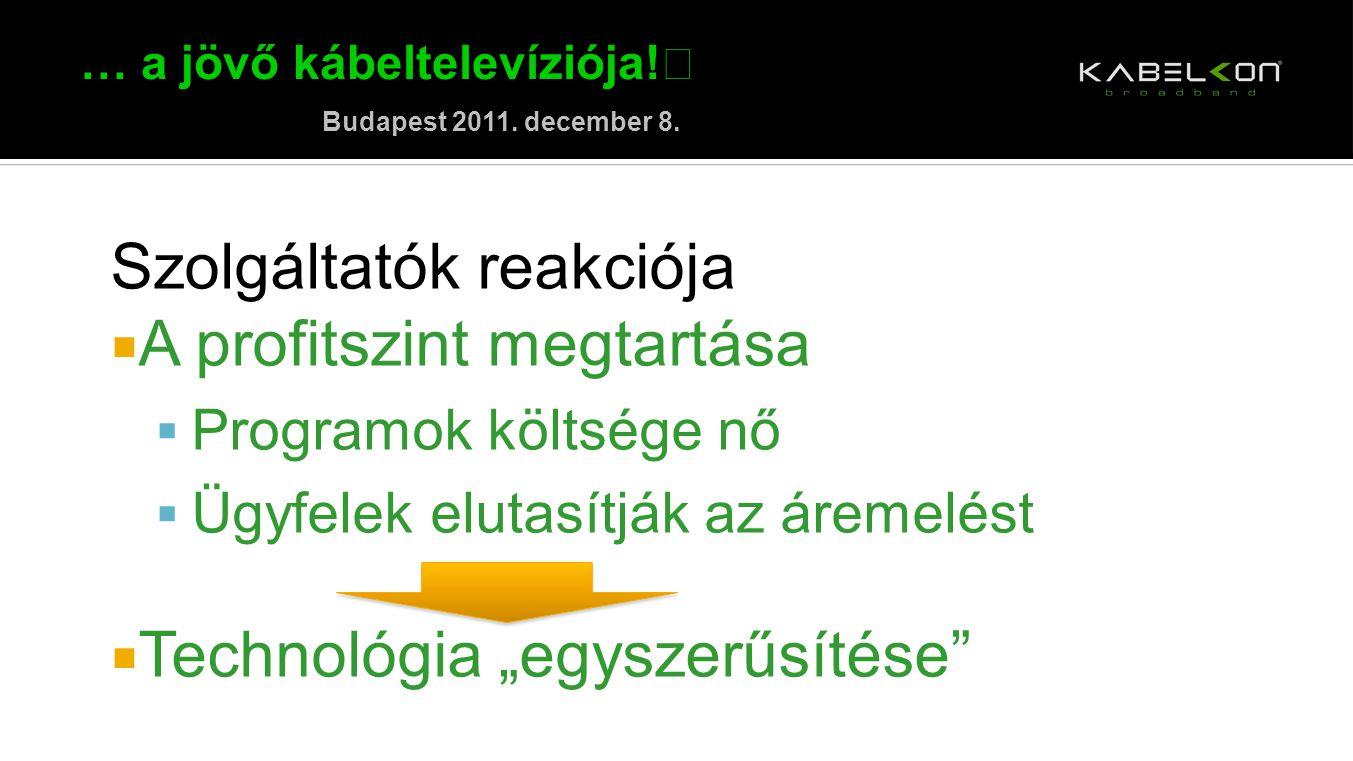 … a jövő kábeltelevíziója! Budapest 2011. december 8. Szolgáltatók reakciója  A profitszint megtartása  Programok költsége nő  Ügyfelek elutasítják