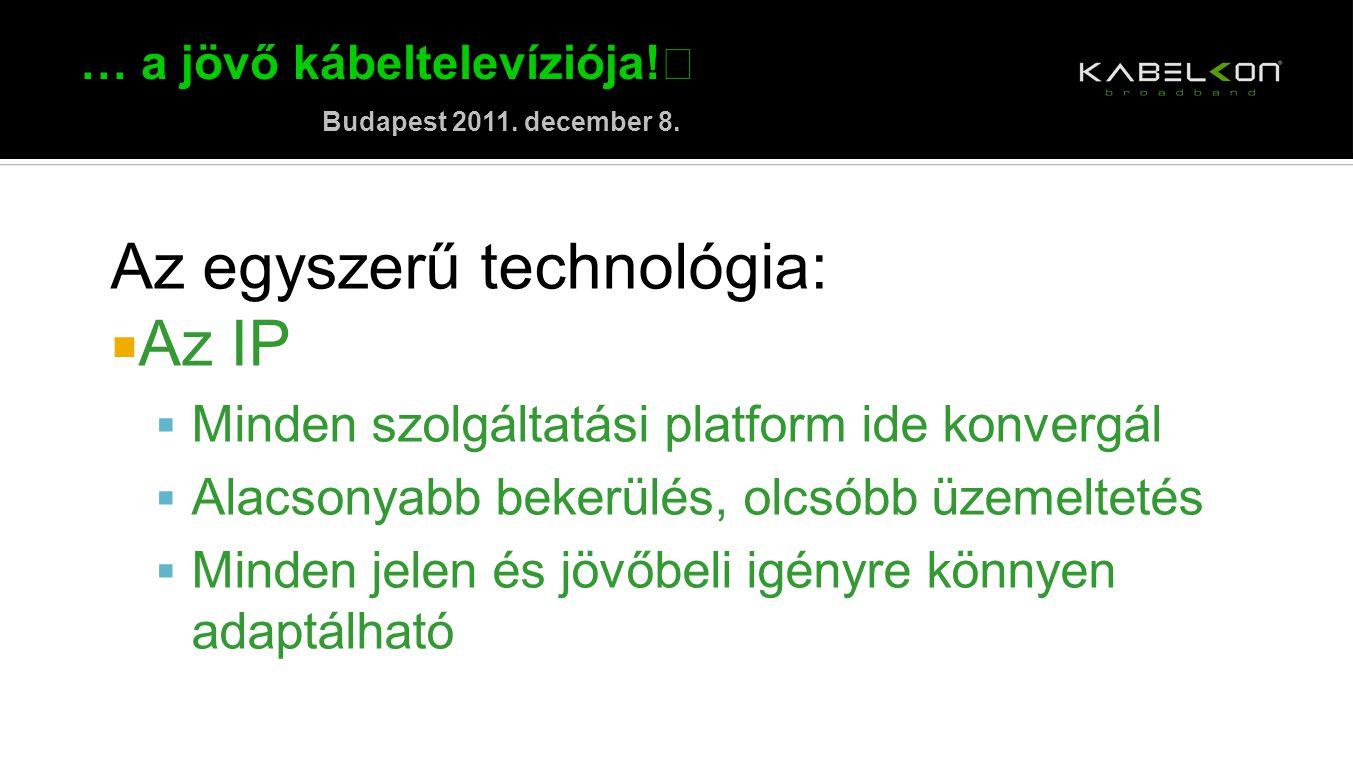 … a jövő kábeltelevíziója! Budapest 2011. december 8. Az egyszerű technológia:  Az IP  Minden szolgáltatási platform ide konvergál  Alacsonyabb bek