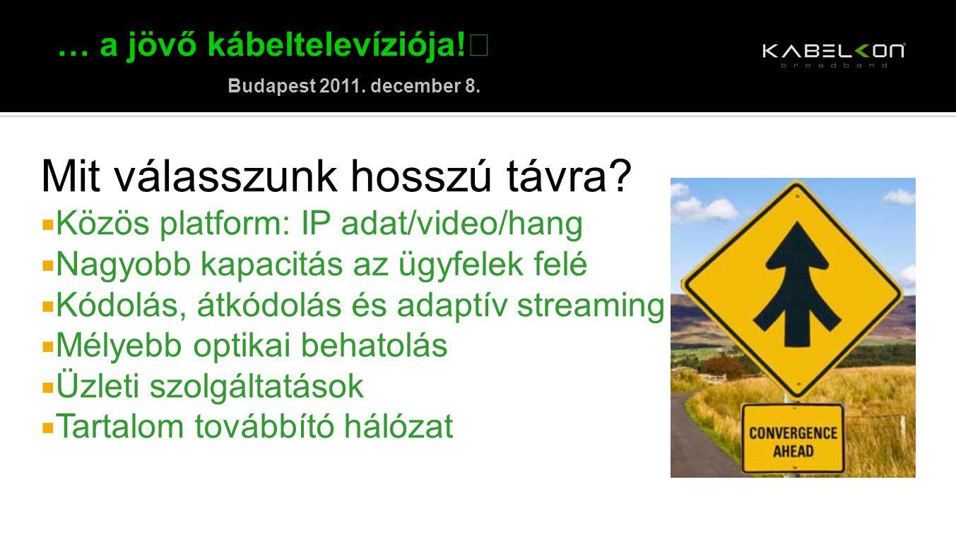 … a jövő kábeltelevíziója! Budapest 2011. december 8. Mit válasszunk hosszú távra?  Közös platform: IP adat/video/hang  Nagyobb kapacitás az ügyfele