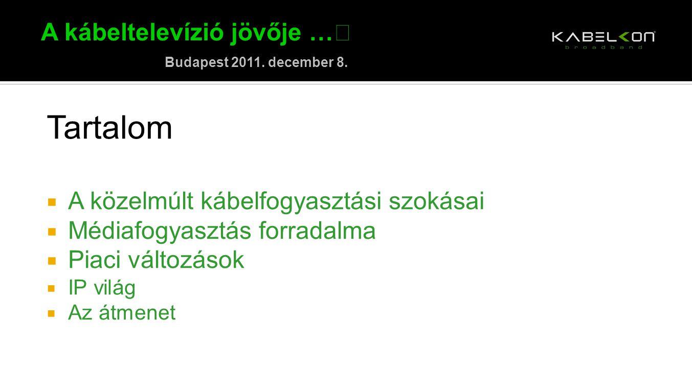 A kábeltelevízió jövője … Budapest 2011. december 8. Tartalom  A közelmúlt kábelfogyasztási szokásai  Médiafogyasztás forradalma  Piaci változások