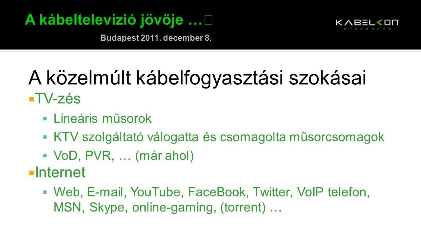A kábeltelevízió jövője … Budapest 2011. december 8. A közelmúlt kábelfogyasztási szokásai  TV-zés  Lineáris műsorok  KTV szolgáltató válogatta és