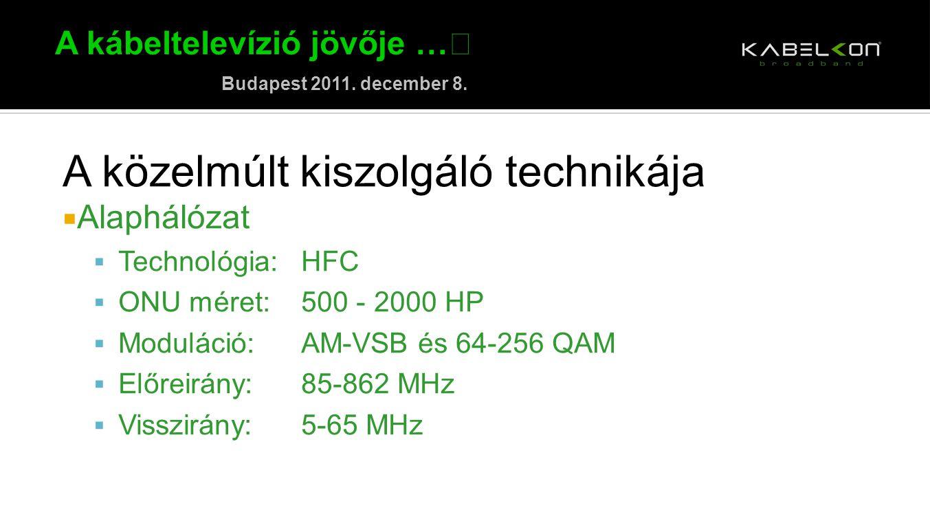 A kábeltelevízió jövője … Budapest 2011. december 8. A közelmúlt kiszolgáló technikája  Alaphálózat  Technológia:HFC  ONU méret:500 - 2000 HP  Mod