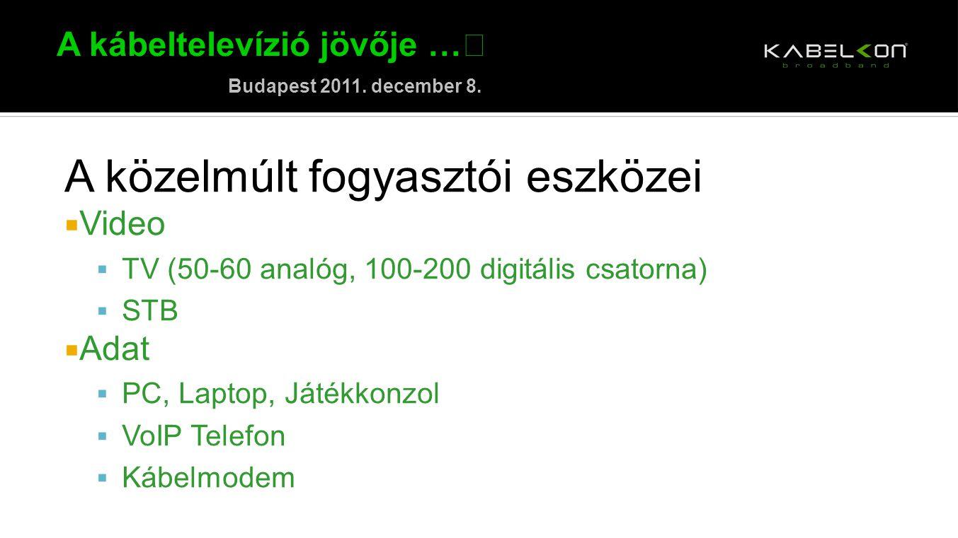 A kábeltelevízió jövője … Budapest 2011. december 8. A közelmúlt fogyasztói eszközei  Video  TV (50-60 analóg, 100-200 digitális csatorna)  STB  A