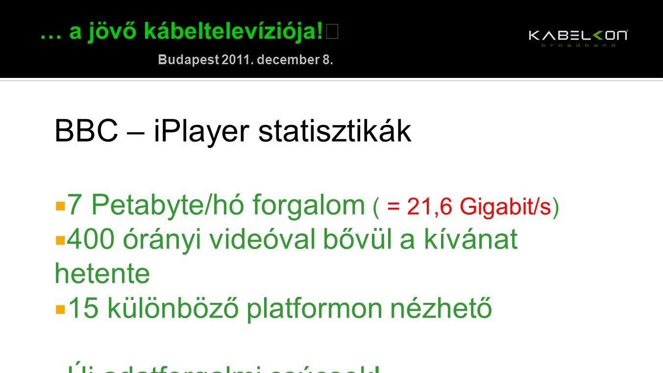 … a jövő kábeltelevíziója! Budapest 2011. december 8. BBC – iPlayer statisztikák  7 Petabyte/hó forgalom ( = 21,6 Gigabit/s)  400 órányi videóval bő