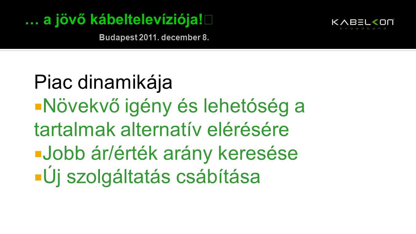 … a jövő kábeltelevíziója! Budapest 2011. december 8. Piac dinamikája  Növekvő igény és lehetóség a tartalmak alternatív elérésére  Jobb ár/érték ar
