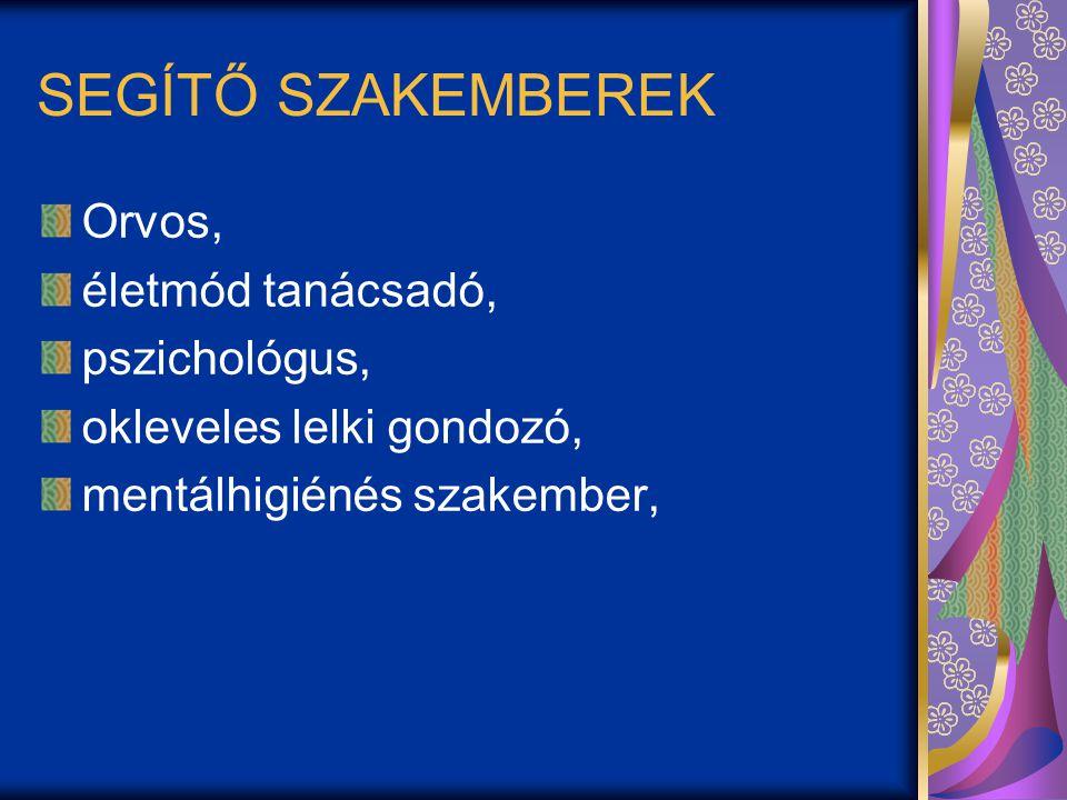 SEGÍTŐ SZAKEMBEREK Orvos, életmód tanácsadó, pszichológus, okleveles lelki gondozó, mentálhigiénés szakember,