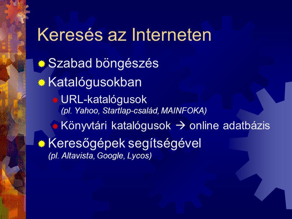 Keresés az Interneten  Szabad böngészés  Katalógusokban  URL-katalógusok (pl.