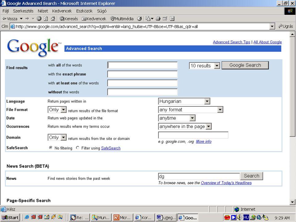 Példa: Internetes keresőgép
