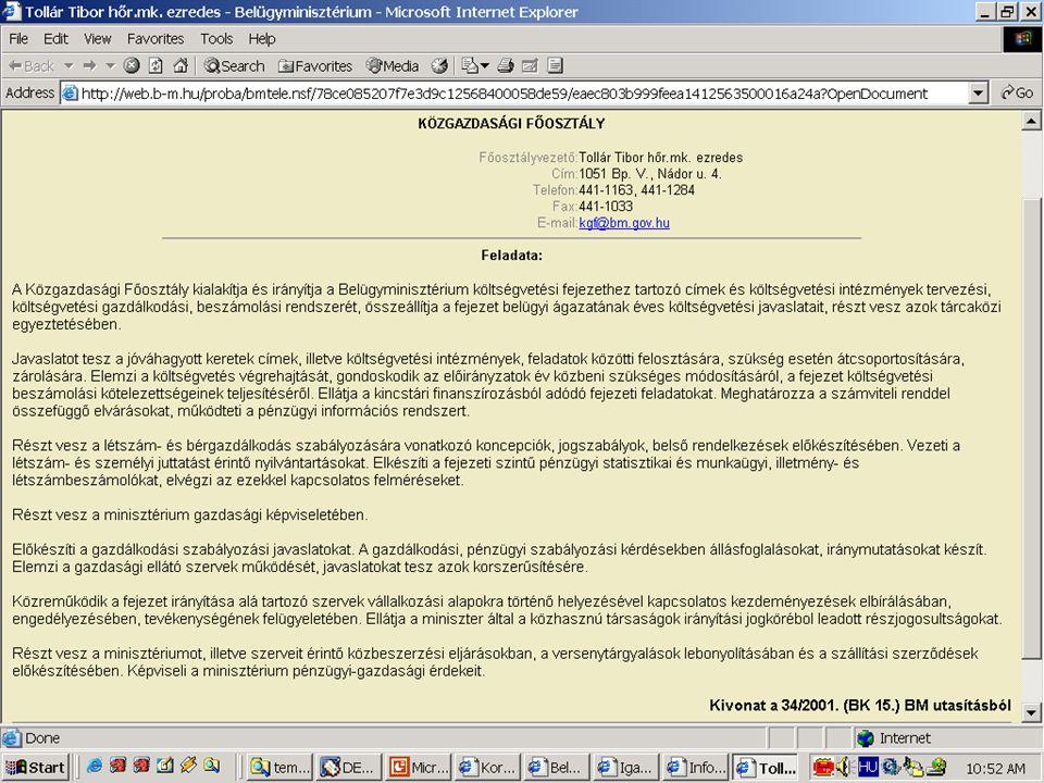 Példa: minisztériumi honlap