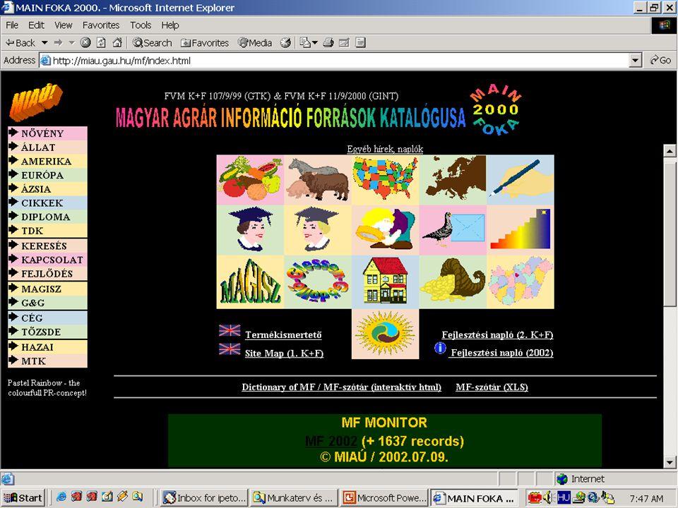 MAINFOKA http://miau.gau.hu/mf Példa: Mezőgazdasági hivatkozás-katalógus
