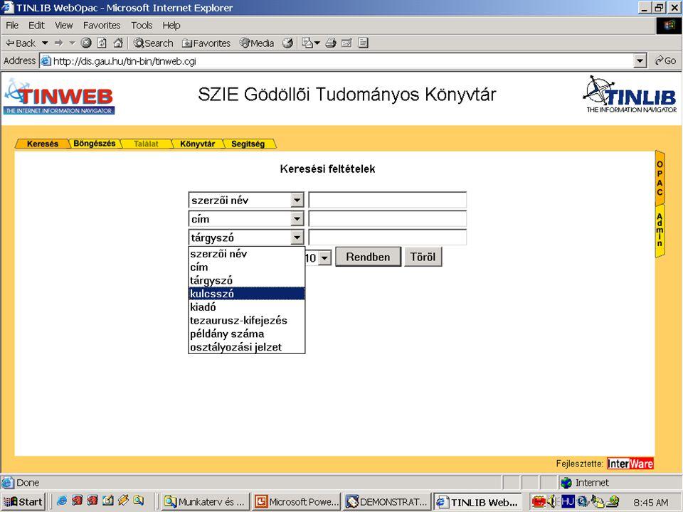 Példa: Online könyvtári katalógus