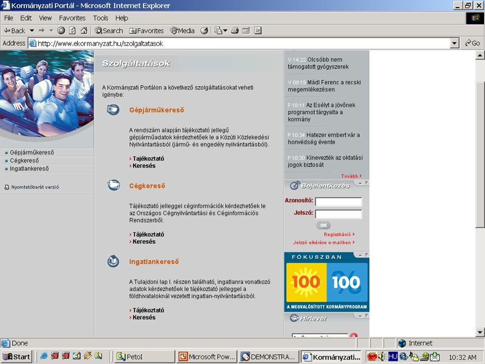 Példa: A Kormányzati Portálba integrált szolgáltatások