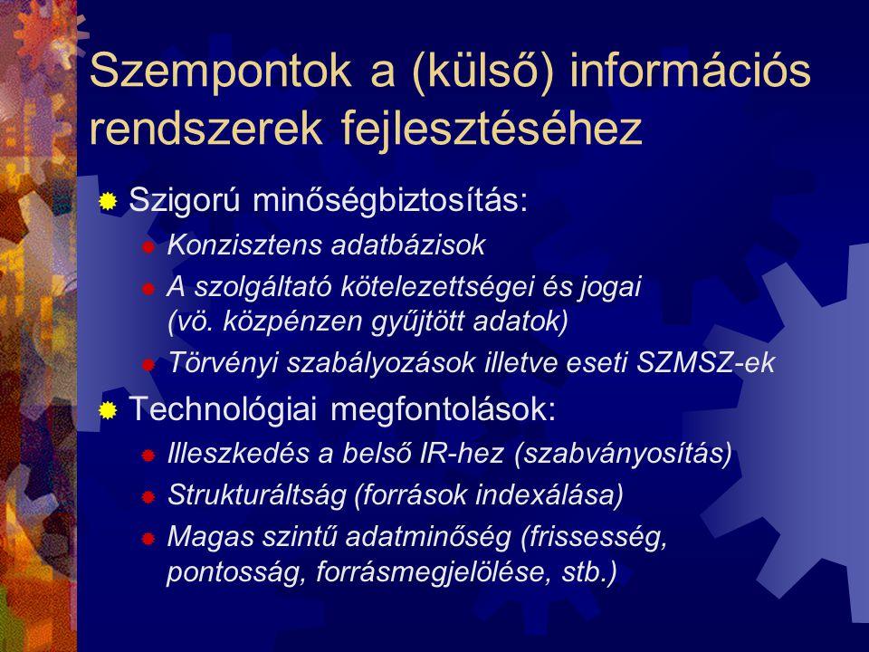 Szempontok a (külső) információs rendszerek fejlesztéséhez  Szigorú minőségbiztosítás:  Konzisztens adatbázisok  A szolgáltató kötelezettségei és jogai (vö.
