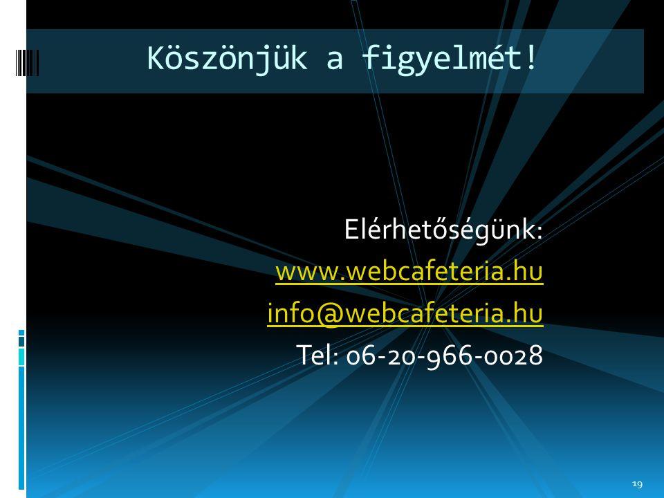 Elérhetőségünk: www.webcafeteria.hu info@webcafeteria.hu Tel: 06-20-966-0028 Köszönjük a figyelmét! 19