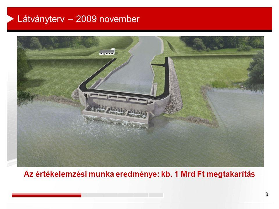 8 Az értékelemzési munka eredménye: kb. 1 Mrd Ft megtakarítás Látványterv – 2009 november