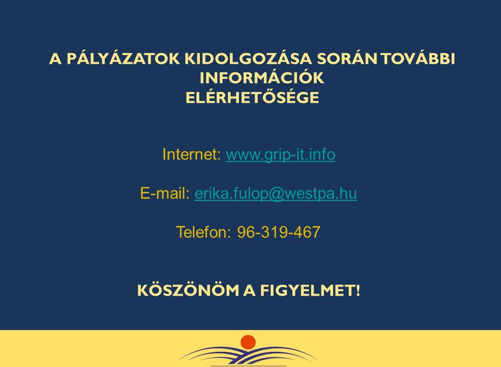 Internet: www.grip-it.infowww.grip-it.info E-mail: erika.fulop@westpa.huerika.fulop@westpa.hu Telefon: 96-319-467 KÖSZÖNÖM A FIGYELMET! A PÁLYÁZATOK K