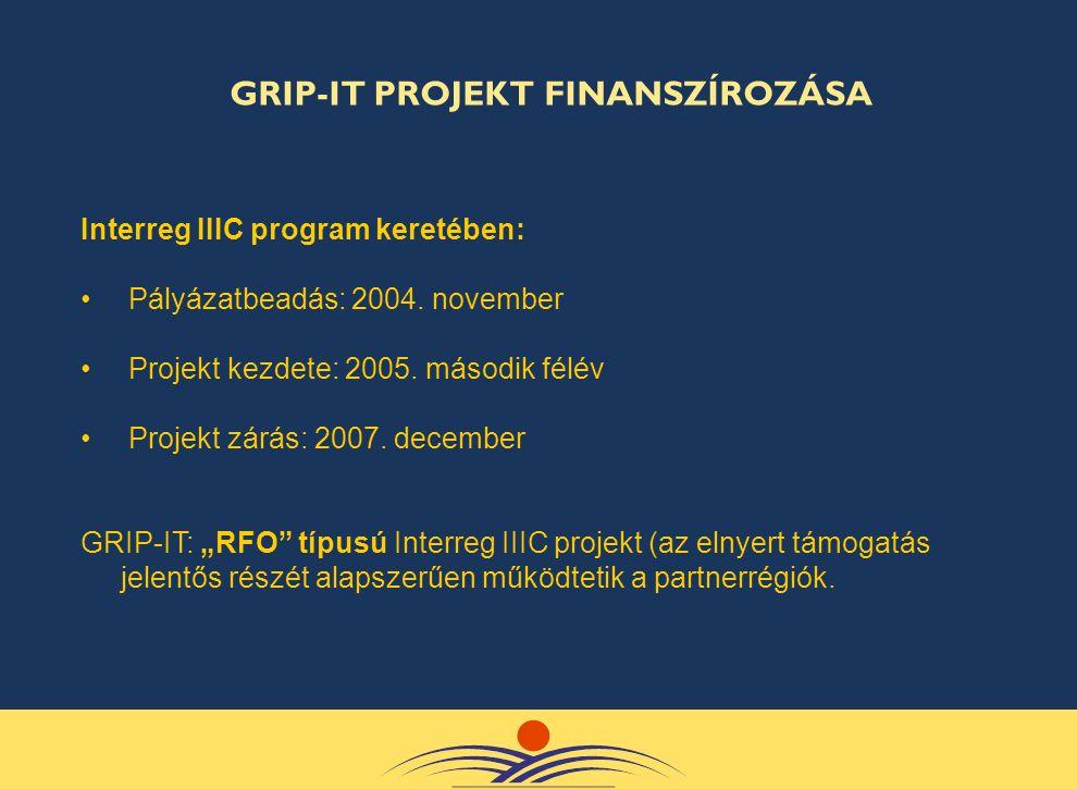 """Interreg IIIC program keretében: • Pályázatbeadás: 2004. november • Projekt kezdete: 2005. második félév • Projekt zárás: 2007. december GRIP-IT: """"RFO"""