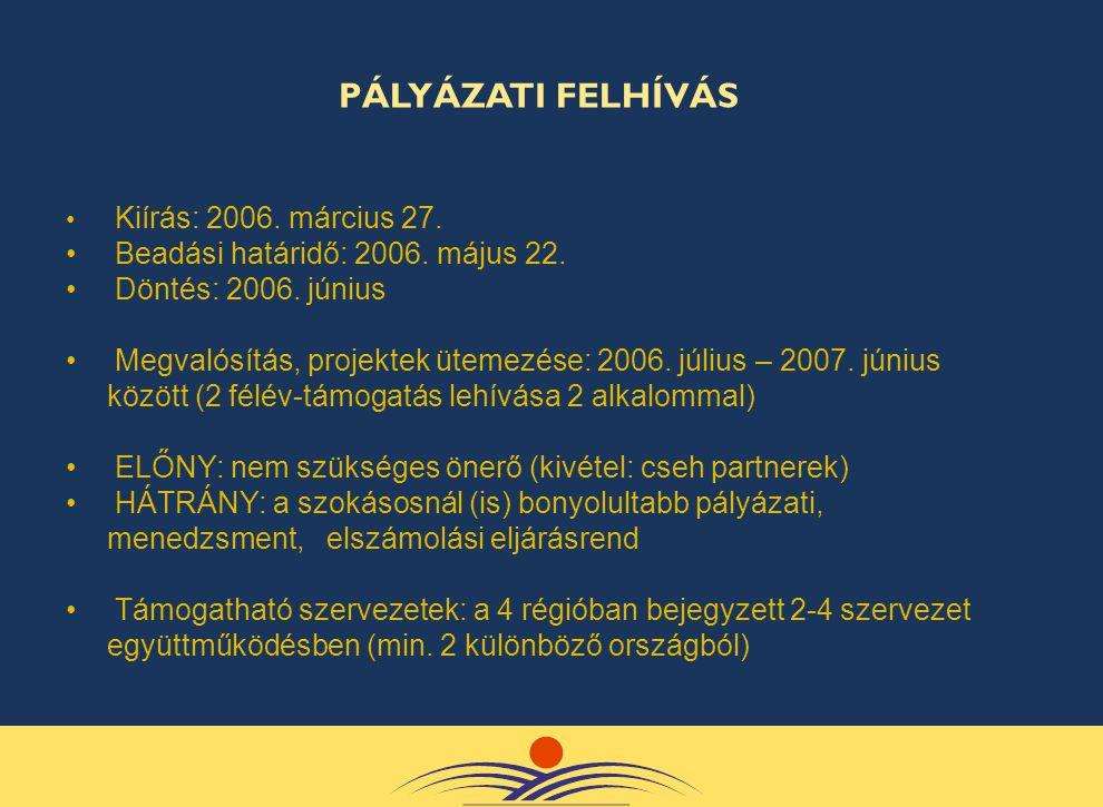 • Kiírás: 2006. március 27. • Beadási határidő: 2006. május 22. • Döntés: 2006. június • Megvalósítás, projektek ütemezése: 2006. július – 2007. júniu