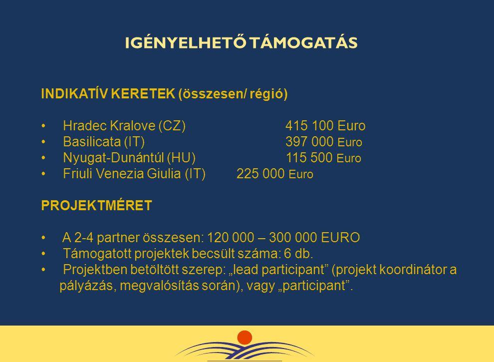 INDIKATÍV KERETEK (összesen/ régió) • Hradec Kralove (CZ) 415 100 Euro • Basilicata (IT) 397 000 Euro • Nyugat-Dunántúl (HU)115 500 Euro • Friuli Vene