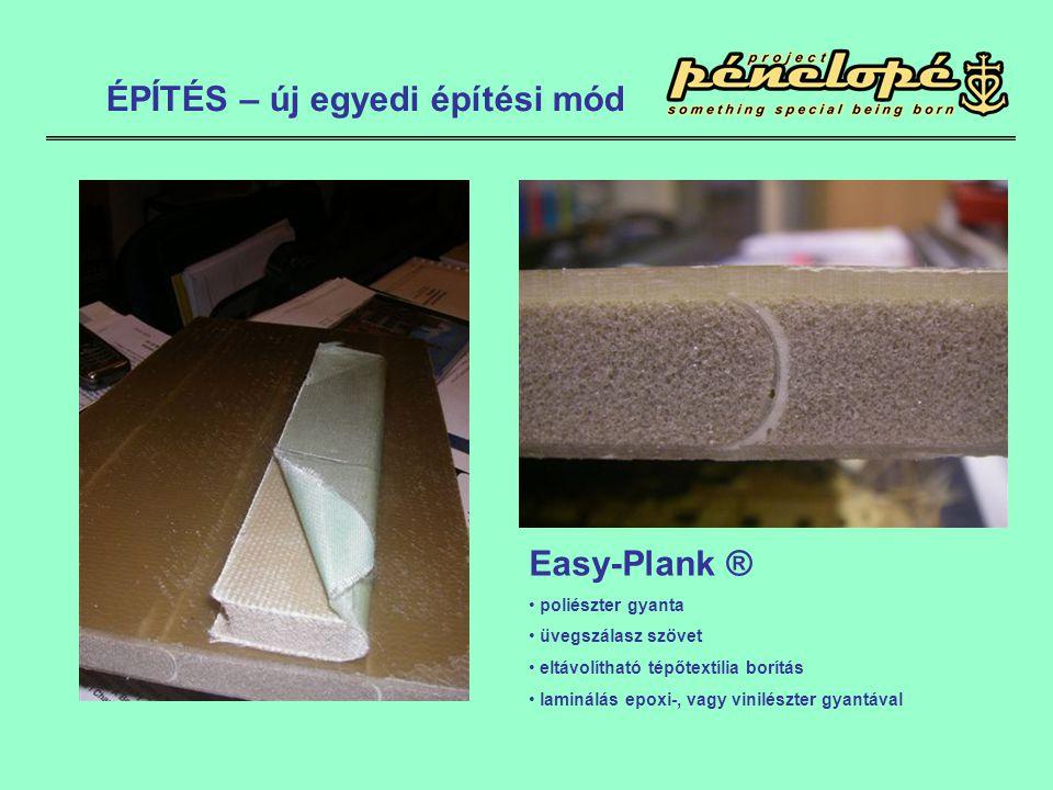 Easy-Plank ® • poliészter gyanta • üvegszálasz szövet • eltávolítható tépőtextília borítás • laminálás epoxi-, vagy vinilészter gyantával ÉPÍTÉS – új