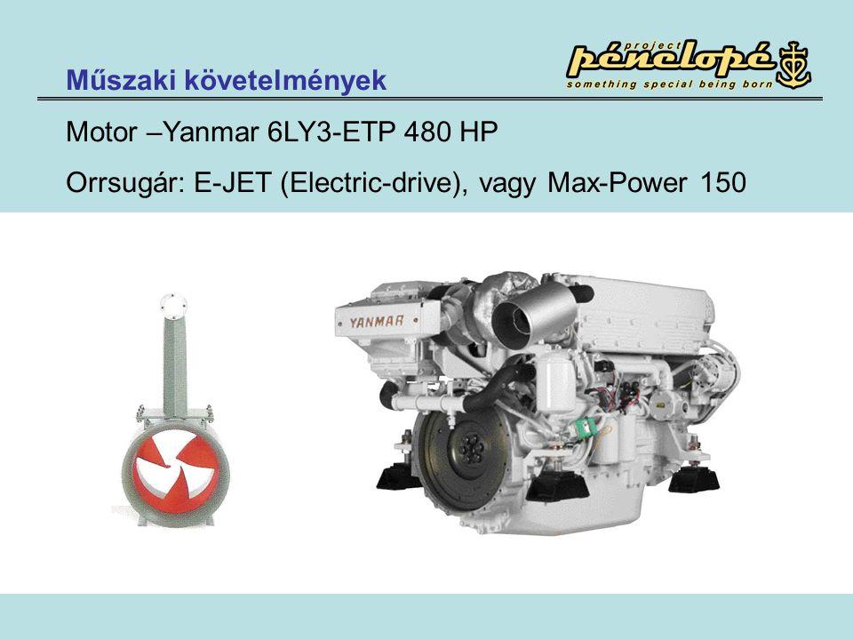 Műszaki követelmények Motor –Yanmar 6LY3-ETP 480 HP Orrsugár: E-JET (Electric-drive), vagy Max-Power 150