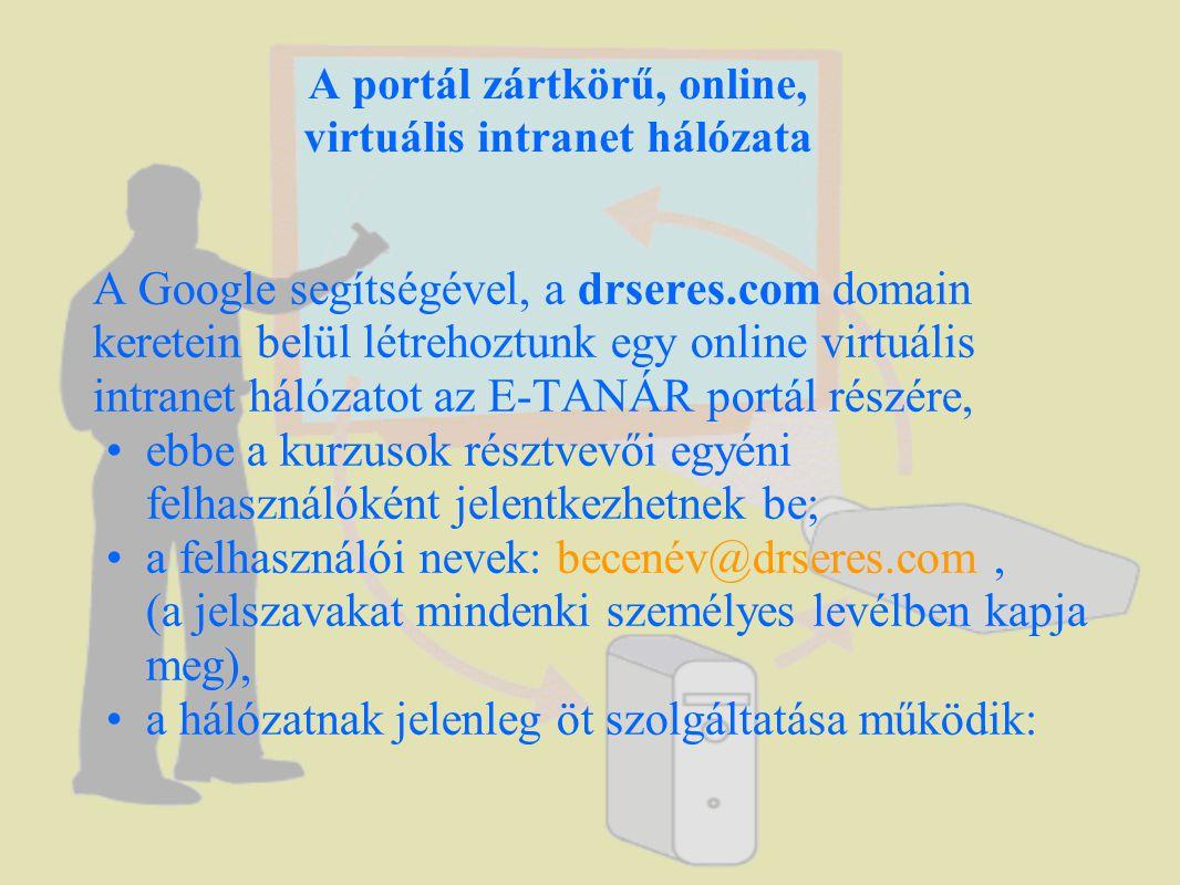 A portál zártkörű, online, virtuális intranet hálózata A Google segítségével, a drseres.com domain keretein belül létrehoztunk egy online virtuális intranet hálózatot az E-TANÁR portál részére, •ebbe a kurzusok résztvevői egyéni felhasználóként jelentkezhetnek be; •a felhasználói nevek: becenév@drseres.com, (a jelszavakat mindenki személyes levélben kapja meg), •a hálózatnak jelenleg öt szolgáltatása működik: