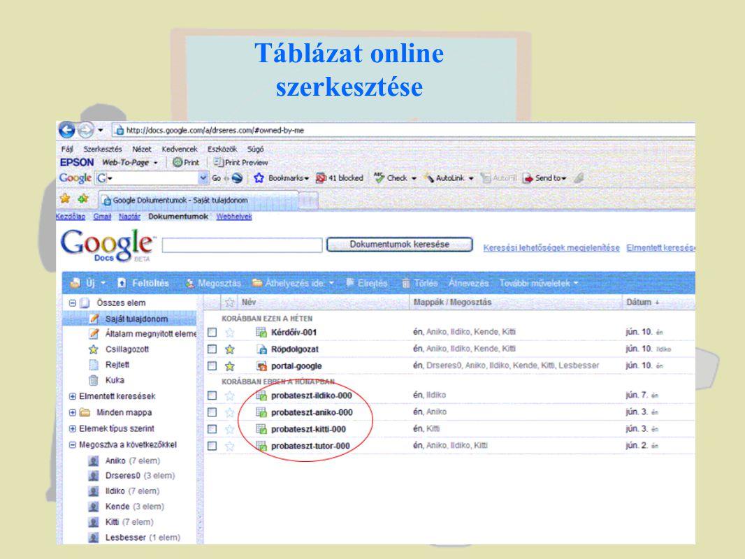 Táblázat online szerkesztése