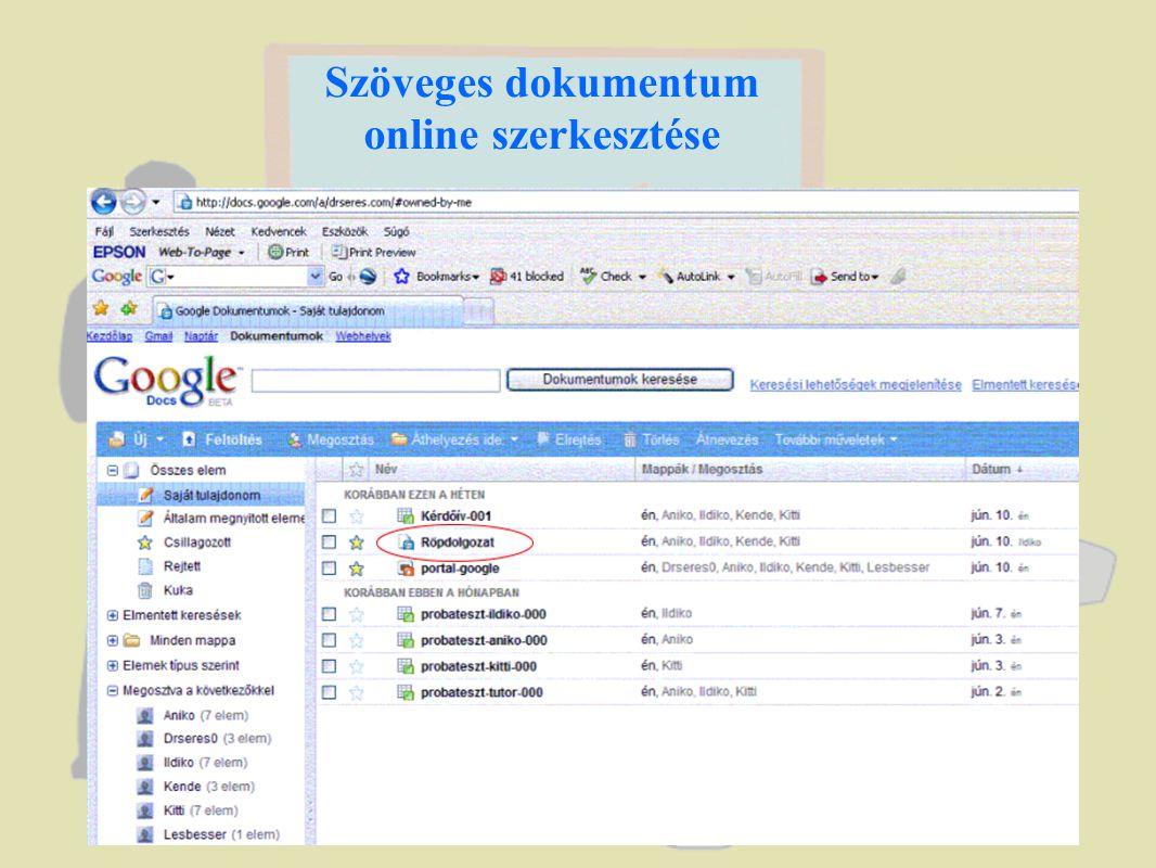 Táblázatok egyidejű online szerkesztése