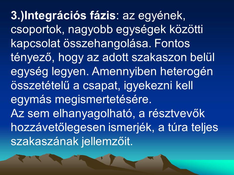 3.)Integrációs fázis: az egyének, csoportok, nagyobb egységek közötti kapcsolat összehangolása.