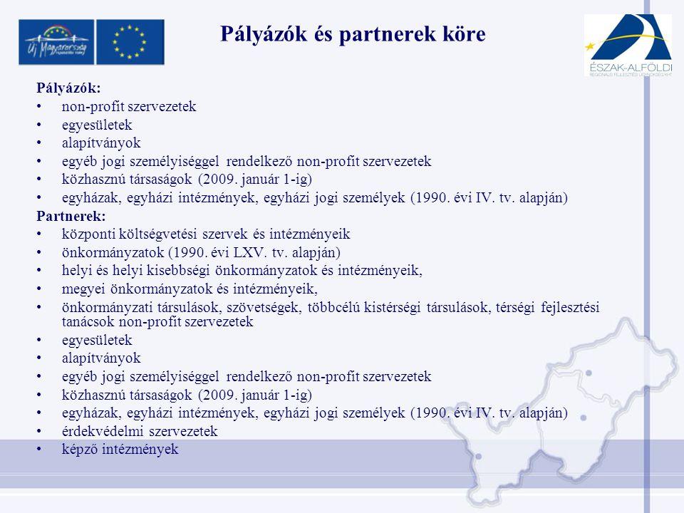 Pályázók és partnerek köre Pályázók: •non-profit szervezetek •egyesületek •alapítványok •egyéb jogi személyiséggel rendelkező non-profit szervezetek •közhasznú társaságok (2009.