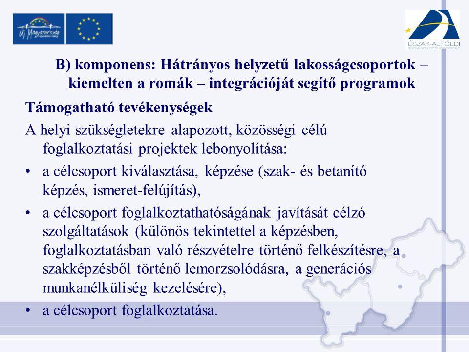 B) komponens: Hátrányos helyzetű lakosságcsoportok – kiemelten a romák – integrációját segítő programok Támogatható tevékenységek A helyi szükségletekre alapozott, közösségi célú foglalkoztatási projektek lebonyolítása: •a célcsoport kiválasztása, képzése (szak- és betanító képzés, ismeret-felújítás), •a célcsoport foglalkoztathatóságának javítását célzó szolgáltatások (különös tekintettel a képzésben, foglalkoztatásban való részvételre történő felkészítésre, a szakképzésből történő lemorzsolódásra, a generációs munkanélküliség kezelésére), •a célcsoport foglalkoztatása.