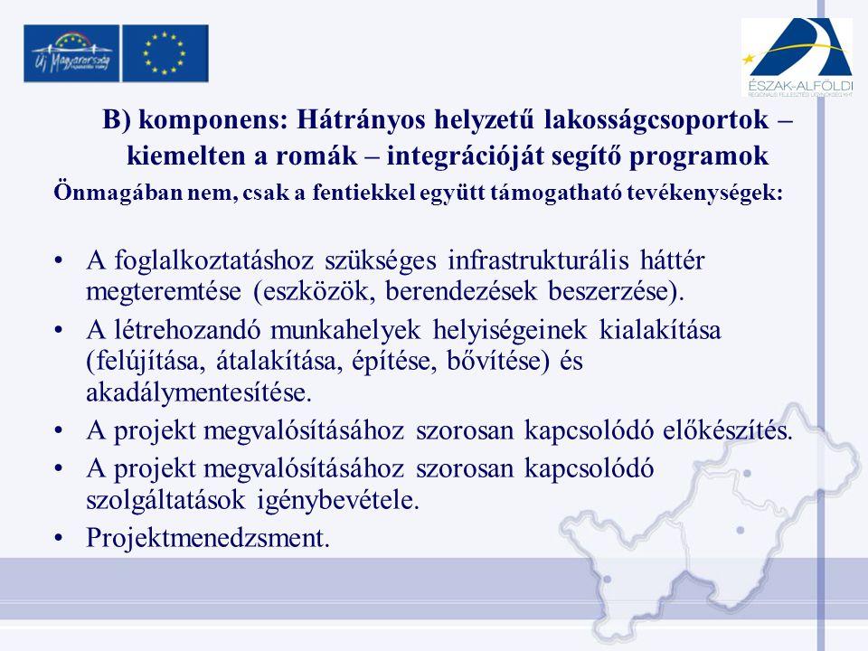 B) komponens: Hátrányos helyzetű lakosságcsoportok – kiemelten a romák – integrációját segítő programok Önmagában nem, csak a fentiekkel együtt támogatható tevékenységek: •A foglalkoztatáshoz szükséges infrastrukturális háttér megteremtése (eszközök, berendezések beszerzése).