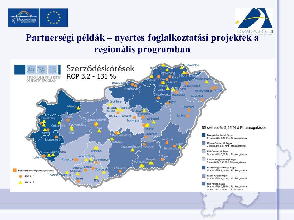 Partnerségi példák – nyertes foglalkoztatási projektek a regionális programban