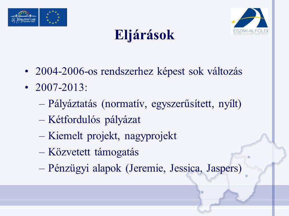 Eljárások •2004-2006-os rendszerhez képest sok változás •2007-2013: –Pályáztatás (normatív, egyszerűsített, nyílt) –Kétfordulós pályázat –Kiemelt projekt, nagyprojekt –Közvetett támogatás –Pénzügyi alapok (Jeremie, Jessica, Jaspers)
