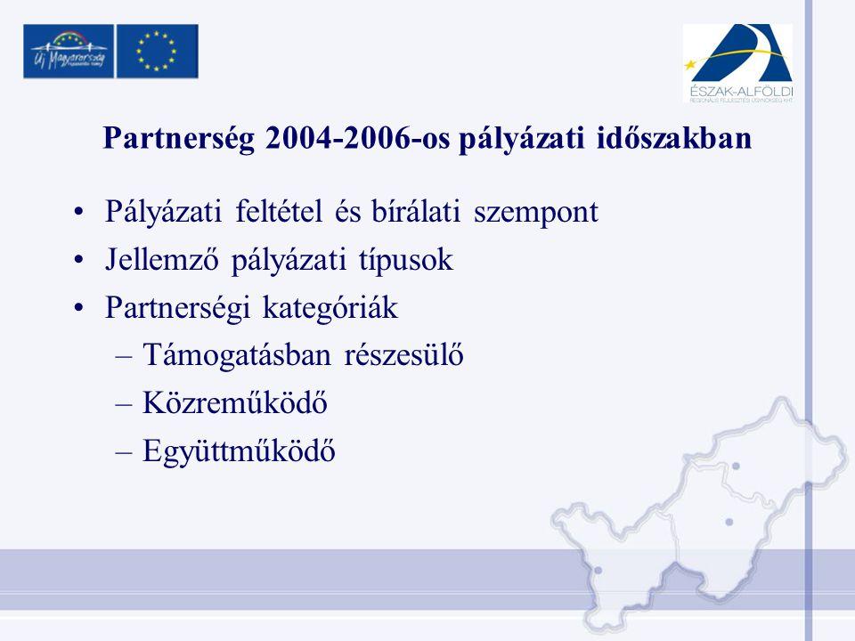 Partnerség 2004-2006-os pályázati időszakban •Pályázati feltétel és bírálati szempont •Jellemző pályázati típusok •Partnerségi kategóriák –Támogatásban részesülő –Közreműködő –Együttműködő
