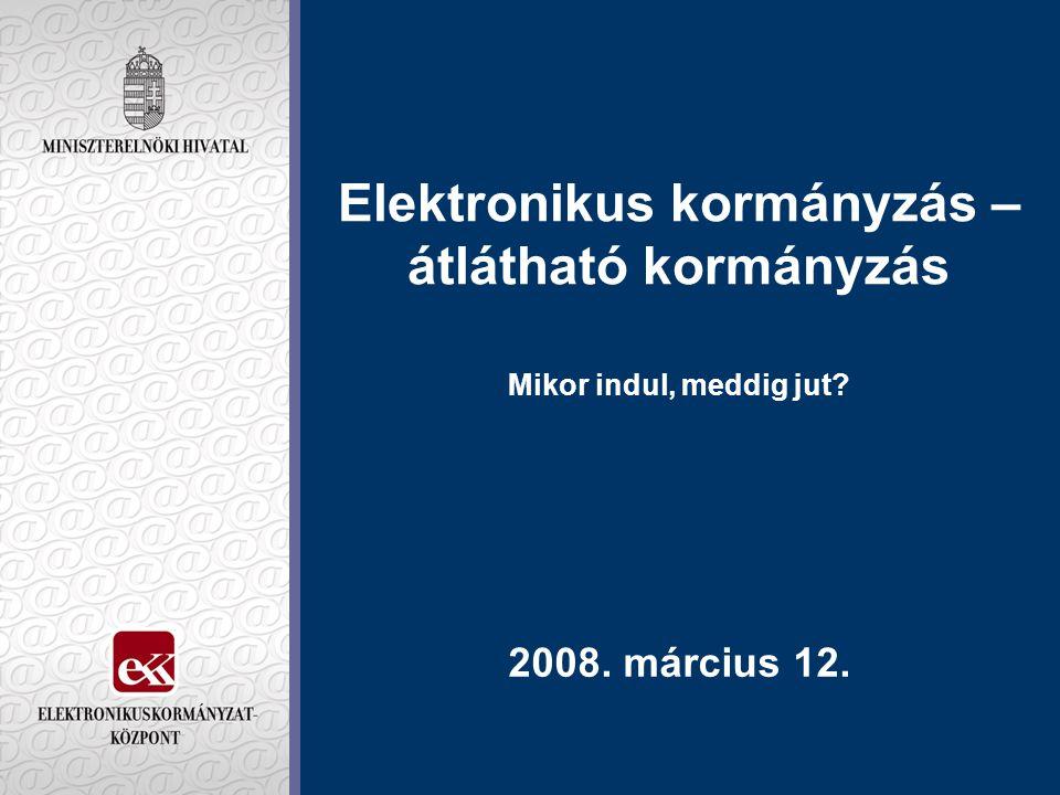 Elektronikus kormányzás – átlátható kormányzás Mikor indul, meddig jut? 2008. március 12.