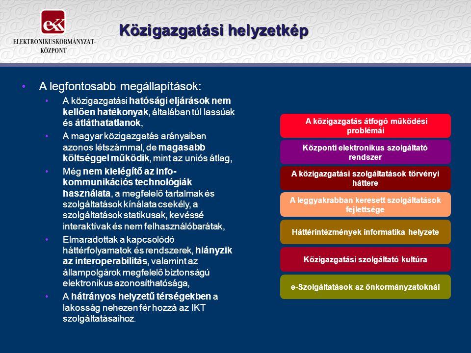 Közigazgatási helyzetkép •A legfontosabb megállapítások: •A közigazgatási hatósági eljárások nem kellően hatékonyak, általában túl lassúak és átláthatatlanok, •A magyar közigazgatás arányaiban azonos létszámmal, de magasabb költséggel működik, mint az uniós átlag, •Még nem kielégítő az info- kommunikációs technológiák használata, a megfelelő tartalmak és szolgáltatások kínálata csekély, a szolgáltatások statikusak, kevéssé interaktívak és nem felhasználóbarátak, •Elmaradottak a kapcsolódó háttérfolyamatok és rendszerek, hiányzik az interoperabilitás, valamint az állampolgárok megfelelő biztonságú elektronikus azonosíthatósága, •A hátrányos helyzetű térségekben a lakosság nehezen fér hozzá az IKT szolgáltatásaihoz.