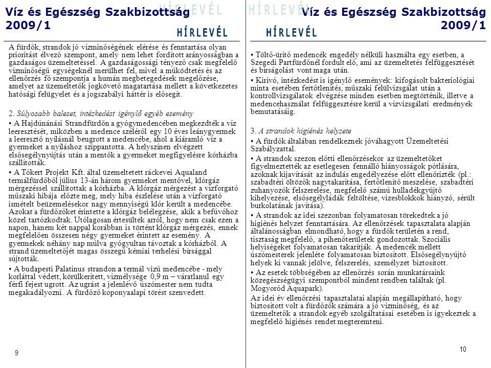 • Töltő-ürítő medencék engedély nélküli használta egy esetben, a Szegedi Partfürdőnél fordult elő, ami az üzemeltetés felfüggesztését és bírságolást vont maga után.