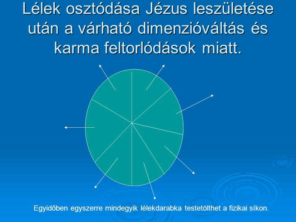 Lélek osztódása Jézus leszületése után a várható dimenzióváltás és karma feltorlódások miatt. Egyidőben egyszerre mindegyik lélekdarabka testetölthet