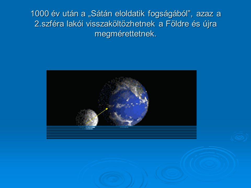 """1000 év után a """"Sátán eloldatik fogságából , azaz a 2.szféra lakói visszaköltözhetnek a Földre és újra megmérettetnek."""