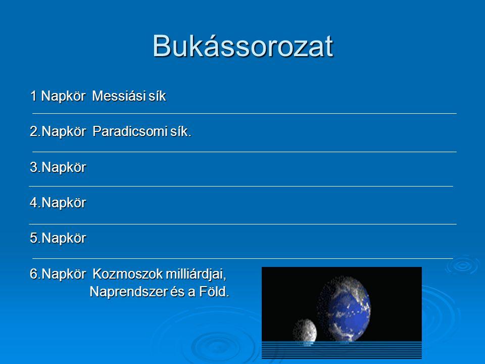 Bukássorozat 1 Napkör Messiási sík 2.Napkör Paradicsomi sík. 3.Napkör4.Napkör5.Napkör 6.Napkör Kozmoszok milliárdjai, Naprendszer és a Föld. Naprendsz