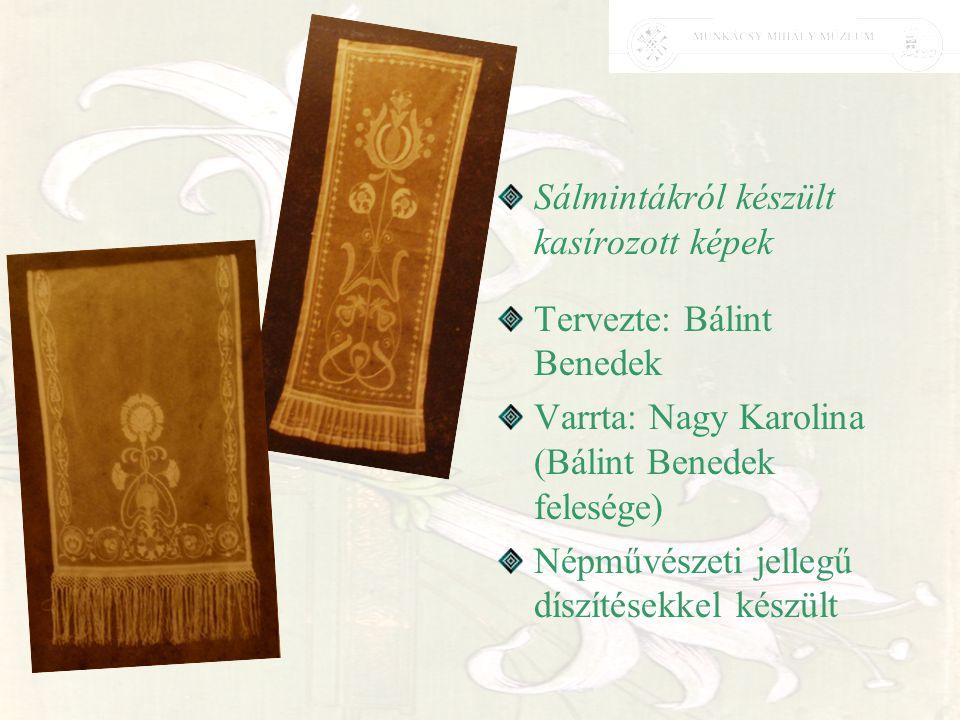 Sálmintákról készült kasírozott képek Tervezte: Bálint Benedek Varrta: Nagy Karolina (Bálint Benedek felesége) Népművészeti jellegű díszítésekkel kész