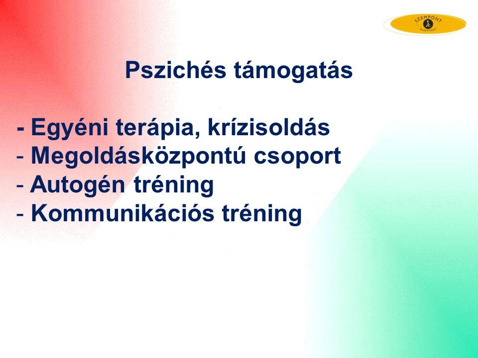 Pszichés támogatás - Egyéni terápia, krízisoldás - Megoldásközpontú csoport - Autogén tréning - Kommunikációs tréning
