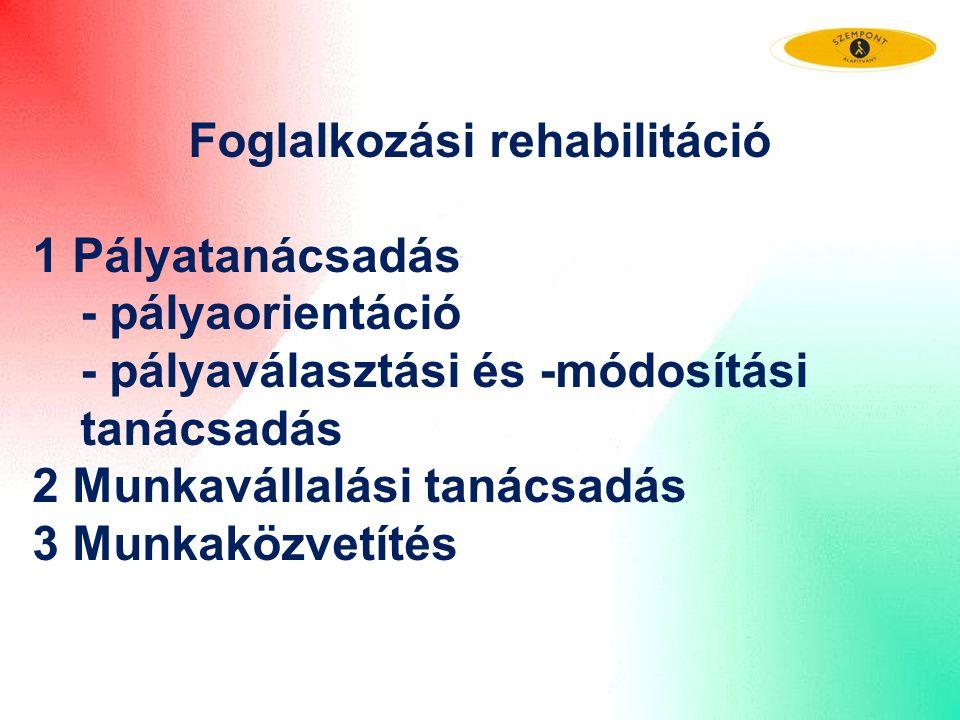 Foglalkozási rehabilitáció 1 Pályatanácsadás - pályaorientáció - pályaválasztási és -módosítási tanácsadás 2 Munkavállalási tanácsadás 3 Munkaközvetít