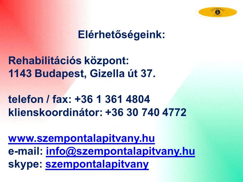 Elérhetőségeink: Rehabilitációs központ: 1143 Budapest, Gizella út 37. telefon / fax: +36 1 361 4804 klienskoordinátor: +36 30 740 4772 www.szempontal