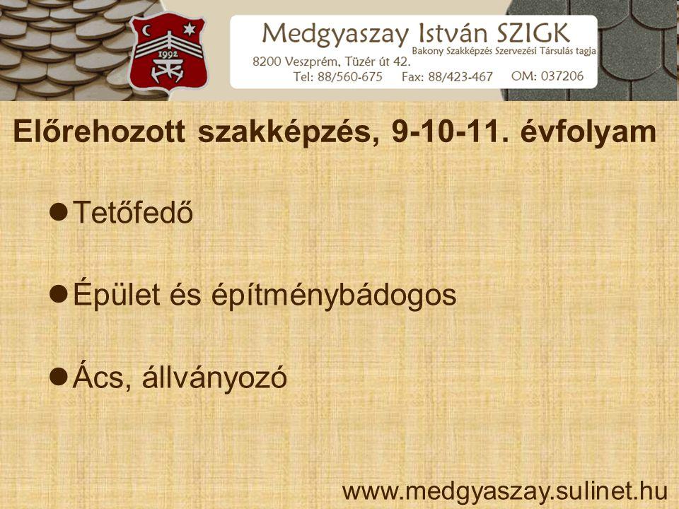 Előrehozott szakképzés, 9-10-11. évfolyam www.medgyaszay.sulinet.hu  Tetőfedő  Épület és építménybádogos  Ács, állványozó