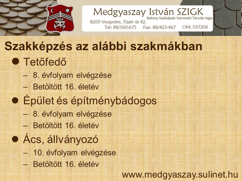 Szakképzés az alábbi szakmákban www.medgyaszay.sulinet.hu  Tetőfedő – 8. évfolyam elvégzése – Betöltött 16. életév  Épület és építménybádogos – 8. é