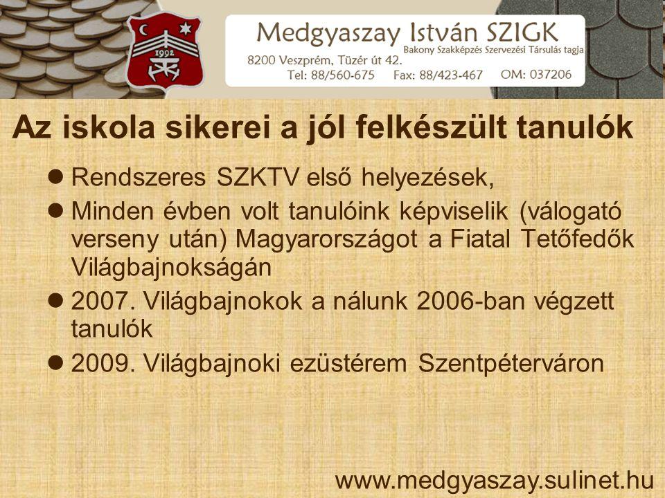 Az iskola sikerei a jól felkészült tanulók  Rendszeres SZKTV első helyezések,  Minden évben volt tanulóink képviselik (válogató verseny után) Magyar